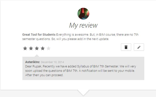 Review on Google Play Store